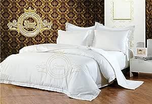 Crown Royal Hotel 系列出口品质 650 支埃及长绒棉 RV 尺寸 4 件套床单套装 38.1 cm 袋深床笠白色纯色 白色 King 76 ''x 80''