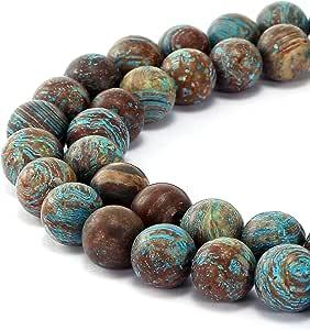 BRCbeads 华丽天然宝石光滑哑光圆散珠 变体颜色和材质用于珠宝制作 Crazy Blue Lace Aagte 10mm
