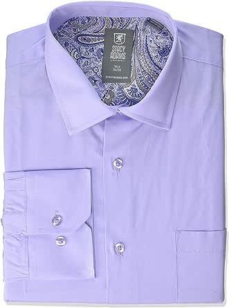 """STACY ADAMS 男式 39000 纯色衬衫 淡紫色 17"""" Neck 34-35 Sleeve"""