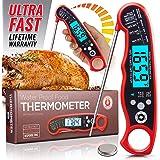 即时读取肉类温度计,适用于烧烤和烹饪。 用背光和防水主体升级而成。 Best Ultra Fast 数字厨房探针。 包括内部 BBQ 肉类温度指南