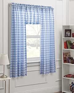 dream FACTORY 格纹格纹 3 件套儿童卧室窗帘面板套装,蓝色白色,63英寸 多种颜色 63-Inch 2D719906MU
