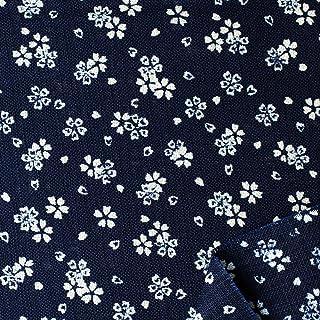 """双日时尚 日式风格印花 """"满樱"""" 斑驳丝布 宽108cm B88225Englis-1 10M 濃藍"""