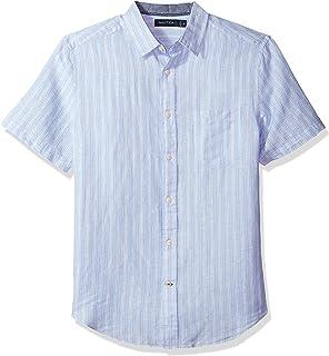 Nautica 男士經典款短袖條紋亞麻紐扣襯衫