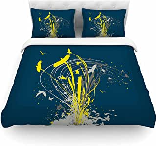 "Kess InHouse Frederic Levy-Hadida""迁移图案""蓝色黄色单人床棉质被套,172.72 x 223.52 厘米"