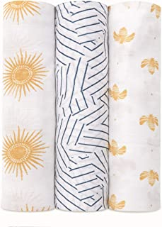 aden + anais 竹人造丝襁褓毯 3 件装 黄金阳光