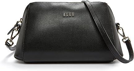ELLE 女式 时尚经典牛皮单肩包斜挎包 E27S1230362BK 黑色 255mm*115mm*155mm