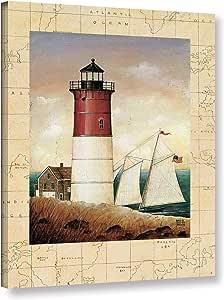 "Tremont Hill David Carter 棕色""Schooner Bay""画廊包装油画 红色 14X18"" 2bro005a1418w"