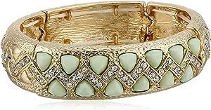Mint and Crystal Stones Stretch Bracelet, 2.5''