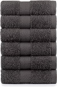 天然毛圈棉毛巾,海滩,浴,手,高尔夫,健身瑜伽毛巾和毛巾 炭黑色 Hand Towels - Qty 6