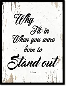 Why FIT IN when you were Born TO stand OUT 名言谚语帆布印刷带画框家居装饰墙壁艺术礼品创意