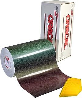 ORACAL 黑色光泽金属闪亮变色龙粘合工艺乙烯基 30.48 厘米 x 15.24 厘米卷 适用于浮雕、Cricut 和剪影 包括硬黄色细节刮刀