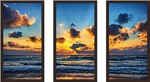 "Picture Perfect International 704-2101-1224 ""Hazy Reflections 4"" Framed Plexiglass Wall Art, Set of 3, 13.5"" W x 25.5"" H x 1"" D"