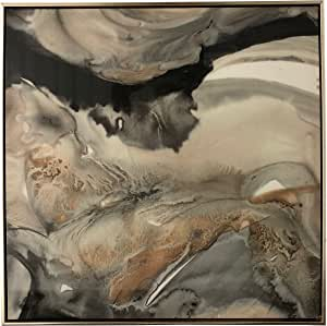 手工装饰帆布艺术 High Gloss Black and Gold Marble Abstract 24 x 36 Inch 68153