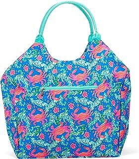 Viv & Lou Tickled 粉色火烈鸟 16 x 21 涤纶旅行沙滩手提包