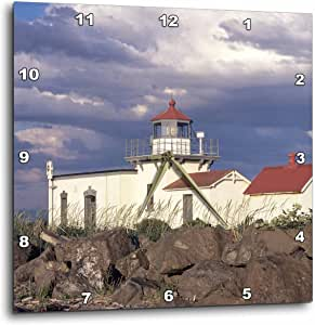 3dRose dpp_95944_1 WA, Hansville, Point No Point Lighthouse-US48 JWI1234-Jamie and Judy Wild-Wall Clock, 10 by 10-Inch