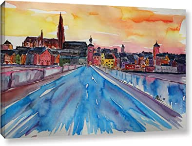 "Tremont Hill Marcus/Martina Bleichner""Regensburg Pearl On Danube From Stone Bridge 5.08 cm 画廊装裱油画 蓝色 16X24"" 0ble194a1624w"