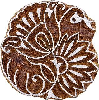 """手工雕刻鸟木织边印章印度木棕色印刷块 设计 #1 2.5""""x 2.5"""" Inches PB3368A"""