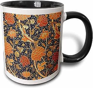 3D Rose 243617_4 威廉·莫里斯*蓝和橙色花卉图案双色陶瓷马克杯,黑色