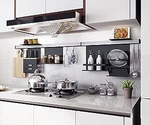 """UNÍMURO-LUJO 铝壁挂式导轨存储组织系统 À 按卡特选择您自己的模块,适合厨房、工作室、办公室、浴室。 灰色/黑色 SM Flat 9.45""""W x 4.73""""L UML-W"""