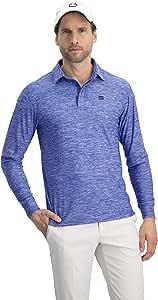 男式干爽修身长袖 Polo 衫,吸湿排汗,防紫外线