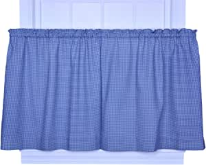 Logan Gingham Check Print 68-Inch by 36-Inch Tailored Tier Curtains, Blue