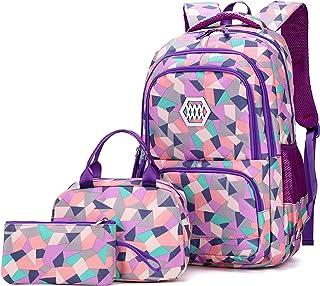 VIDOSCLA 3 件套几何印花小学生挎包背包小学生书包儿童书包 紫色 L