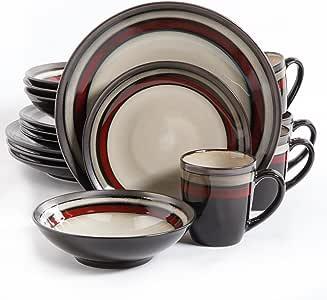 Gibson Lewisville 16 Piece Dinnerware Cream with Red Reactive Metallic Rim, Cream/Red