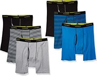 Hanes 男式无标签平角内裤,6 条装