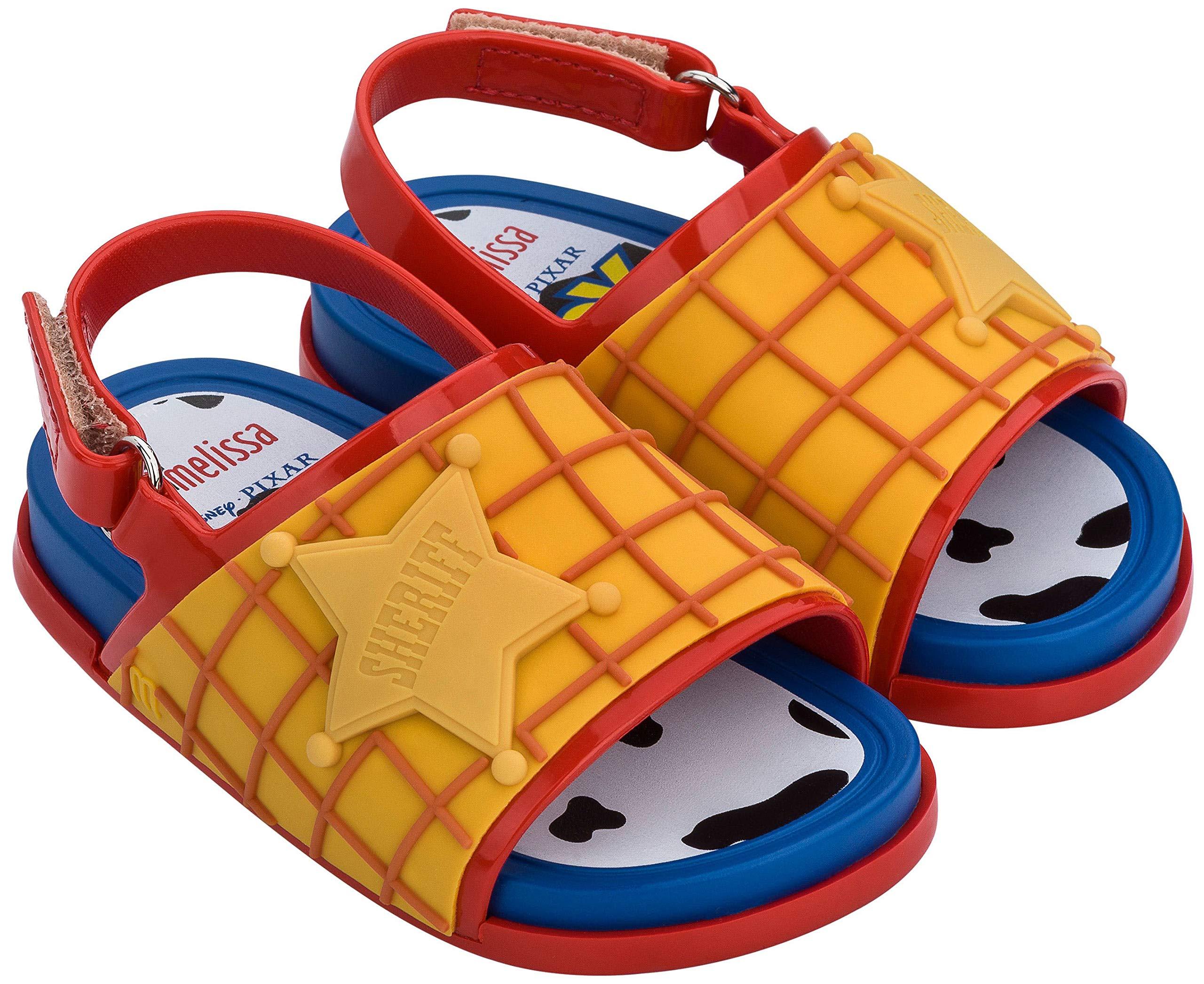 melissa 迷你沙滩拖鞋 + 玩具总动员凉鞋,红色蓝色,尺码 10 幼儿