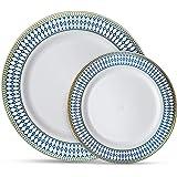 Laura Stein 设计师餐具午夜蓝色系列热印章组合塑料一次性盘子套装 蓝色和金色 64 Piece set (32 Sets) MB-PC710-BG