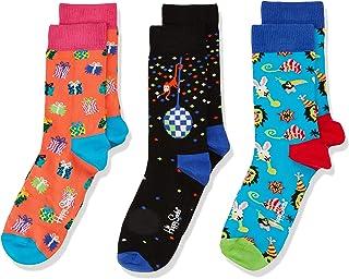 Happy Socks 中性婴儿儿童派对动物礼品盒袜,3只装
