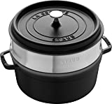 Staub 琺寶 40510-606-0 琺瑯鑄鐵鍋 圓形帶蒸籠 26cm, 5.2 L, 內部亞光黑色琺瑯,黑色