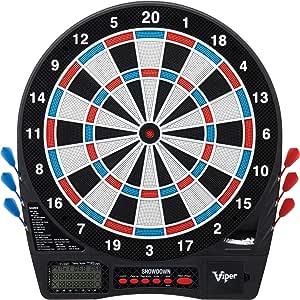 Viper Showdown 电子飞镖,竞赛游戏规则尺寸,超薄蜘蛛增加得分区域,易于使用按钮接口,大发飞镖捕捉环,25/50 斗牛选项,32 游戏 590 选择