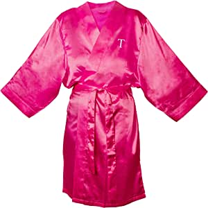 Cathy's Concepts Personalized Satin Robe 紫红色 L/XL