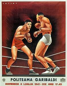 """装饰艺术印刷品:复古拳击 棕色 8""""×10"""" print"""