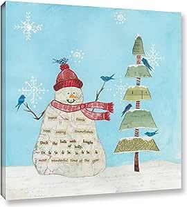 "Tremont Hill Courtney Prahl ""Winter Fun V"" 画廊包边油画 红色 24X24"" 2pra044a2424w"