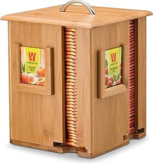 茶具展示盒竹储物架,4 层木质茶壶架由 * 有机竹制成 - 完美礼物创意。 Bambusi