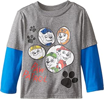 Paw Patrol Little Boys' Chase Zuma Rubble Rocky Marshall Two-Fer Tee, Heather/Royal, 2T