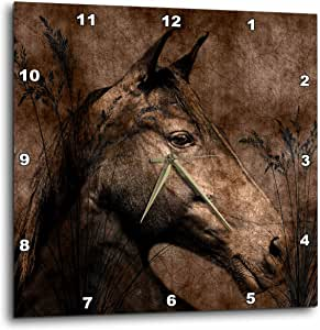 3dRose dpp_127615_2 Horsein The Grass Donein Western Brown Grunge and Charcoal. Wall Clock, 13 by 13-Inch