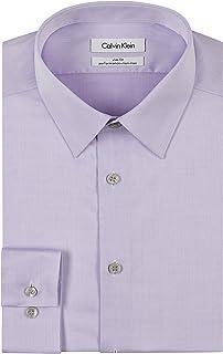 Calvin Klein 男式修身免燙煙紋人字形點領正裝襯衫