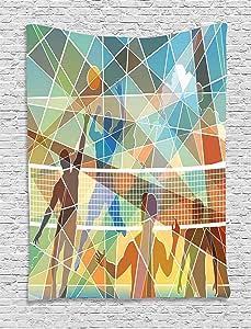 "Volleyball 挂毯 Lunarable 多格图案带球队运动主题海滩排球夏季活动挂墙,适合卧室客厅宿舍,多色 Multi 1 60"" W By 80"" L tap_53208_60x80"