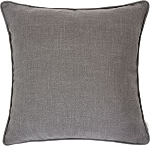 "Homey 舒适亚麻纹理抱枕,亚麻纯色系列 灰色 20""x20"" 75271-GRAY"