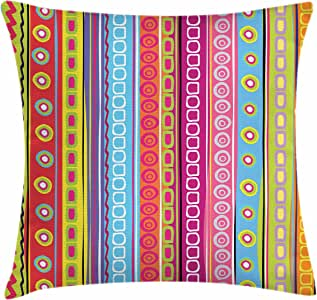 Striped Throw Pillow Cushion Cover by Ambesonne, Colorful Retro Stripes Circles Boho Pattern 90's Style Ethnic Rainbow Art Print, Decorative Square Accent Pillow Case, 18 X 18 Inches, Multicolor