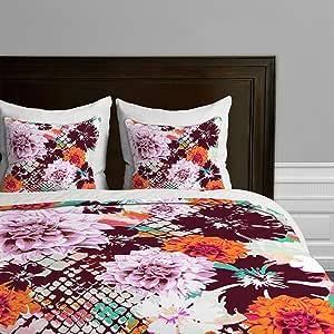 Deny Designs Aimee St Hill 水绿色叶子羽绒被套 Croc and Flowers Orange Twin/Twin XL 13812-duvtwi