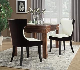 Iconic Home Conrad 餐桌侧椅天鹅绒 PU 皮革深咖啡木框架现代过渡,棕色/浅米色,2 件套