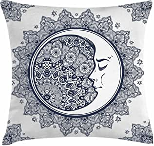 Zodiac Throw Pillow Cushion Cover by Ambesonne, Intricate Boho Ethnic Mandala Form with Crescent Moon Foreground Alchemy Symbol, Decorative Square Accent Pillow Case, 20 X 20 Inches, Dark Blue White