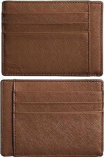 RFID 屏蔽信用卡包真皮 - 纤薄 8 个卡槽,RFID 信用卡夹,男女皆宜 - 极简主义的前袋钱包设计可保护所有信用卡、身份证和身份证。 Khaki 棕色