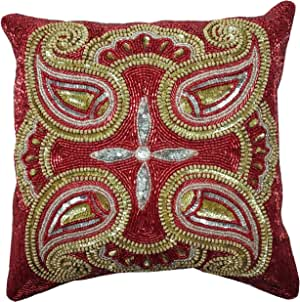 Linen Clubs 串珠枕套 Red Silver Gold Multi 14x14 Beaded Cushion Cover 51410