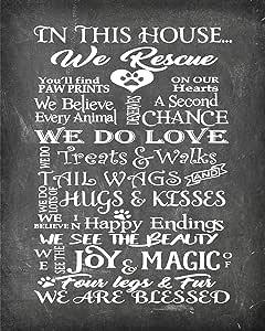 简约非凡的动物救援美丽照片质量海报印刷品 - 庆祝您动物的爱 House Rescue Chalk 11x14