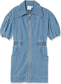 C/Meo Collective 女式有领短袖拉链外设迷你实用连衣裙